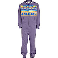 Boys purple aztec print all-in-one