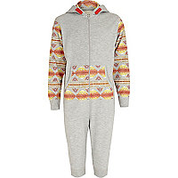 Boys grey aztec print cropped onesie