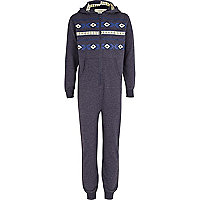 Boys navy aztec print all-in-one
