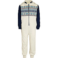 Boys ecru aztec print all-in-one