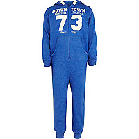 Boys blue downtown New York print onesie