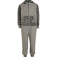 Boys grey geo print all-in-one