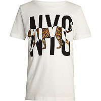 Boys white leopard NYC print t-shirt
