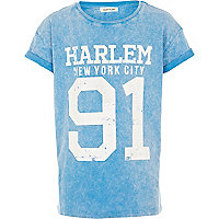 Boys blue acid wash Harlem t-shirt