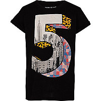 Boys black city number 5 t-shirt