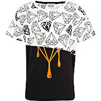 Boys white multi diamond print t-shirt