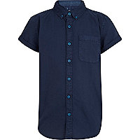 Boys navy short sleeved Oxford shirt