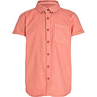 Boys coral short sleeved Oxford shirt