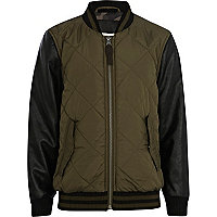 Boys khaki quilted bomber jacket