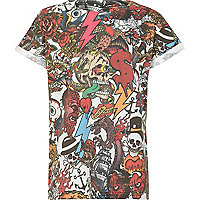 Boys red multi print t-shirt