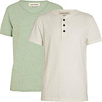 Boys ecru grandad and green voop t-shirt pack