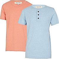 Boys blue grandad and orange voop t-shirt