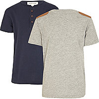 Boys navy grandad and grey patch t-shirt