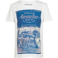 Boys white Amsterdam bike print t-shirt