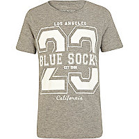 Boys grey LA Blue socks print t-shirt
