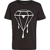 Boys black dripping diamond print t-shirt