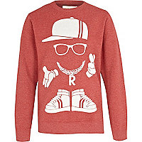 Boys red street man print sweatshirt
