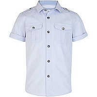 Boys light blue military shirt