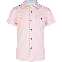 Boys light pink military shirt