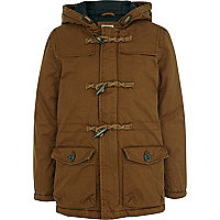 Boys brown waxed duffle jacket