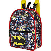 Boys black reversible batman print rucksack