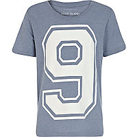 Boys blue number 9 print t-shirt