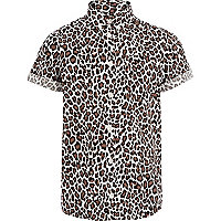 Boys brown leopard print shirt
