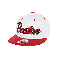 Boys white Boston trucker hat