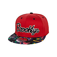 Boys red aztec Brooklyn trucker hat