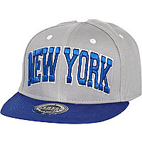 Boys grey and blue New York trucker hat