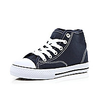 Boys navy canvas high tops