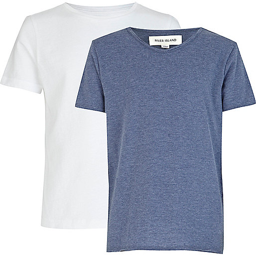 Boys white crew and blue voop neck t-shirts