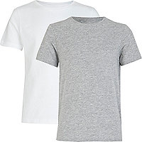 Boys grey and white crew neck t-shirts
