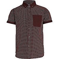 Boys dark red polka dot Oxford shirt