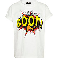 Boys white comic boom! print t-shirt