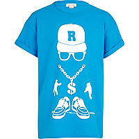 Boys blue streetman chain print t-shirt