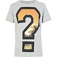 Boys grey question mark print t-shirt