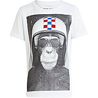 Boys white monkey print t-shirt