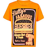 Boys orange Betty's diner print t-shirt