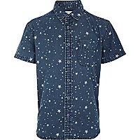 Boys blue star print denim shirt