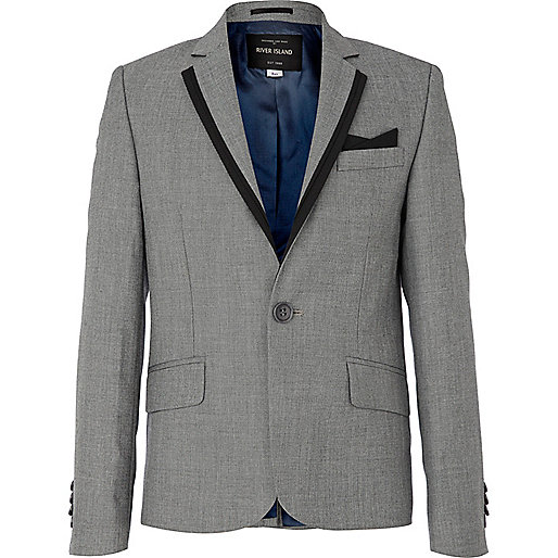 Boys grey contrast trim suit jacket