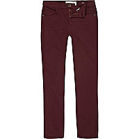 Boys dark red skinny trousers