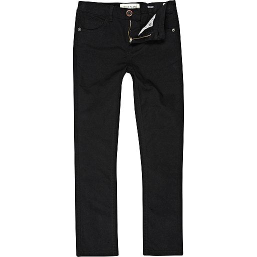 Boys black skinny twill trousers