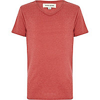 Boys red marl voop neck t-shirt