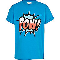 Boys blue comic pow! print t-shirt