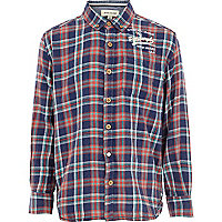 Boys blue check oversized shirt