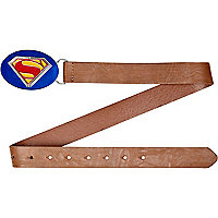 Boys light brown Superman plate belt