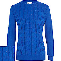 Boys blue cable knit jumper