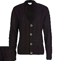 Boys black cable knit cardigan