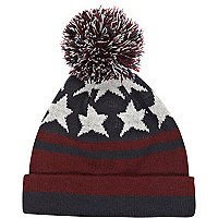 Boys red stars and stripes bobble hat
